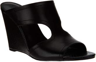 Halston H By H by Open-Toe Cut-Out Leather Mules - Holly