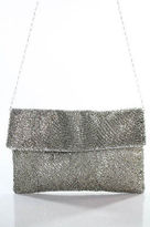 Moyna Silver Metallic Beaded Single Strap Flap Over Button Closure Clutch Handba