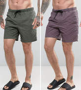 Asos Swim Shorts 2 Pack In Acid Wash Purple And Khaki In Mid Length