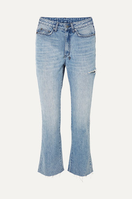 Ksubi Skinny Kickin Distressed High-rise Flared Jeans - Mid denim