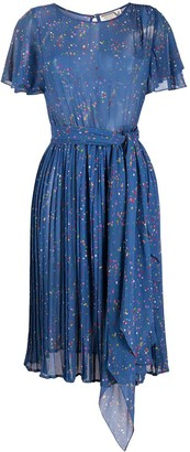 Valentino Pre-Owned Paint Splatter Pleated Dress
