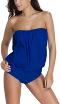 Ninimour Womens Wire Free Blouson Tankini 2 Pieces Swimsuit M