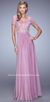 La Femme Natural Waisted Lace Bodice Evening Dress