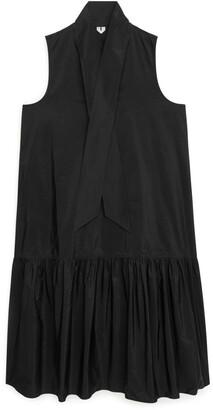 Arket Neck Tie Tafetta Dress