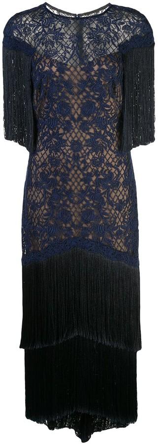 Tadashi Shoji Fringed Evening Dress