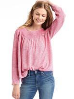 Smock neck long sleeve blouse