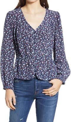Madewell Silk Button Front Peplum Top