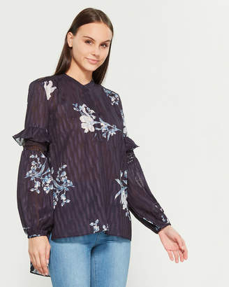 French Connection Ellette Mix Frill Sleeve Blouse