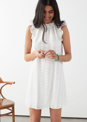 And other stories Frilled Broderie Anglaise Mini Dress