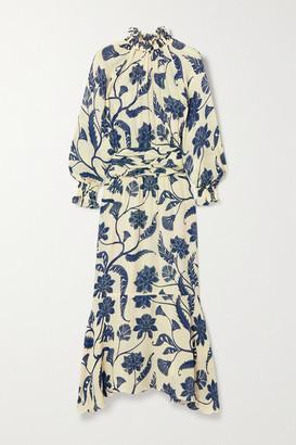 Johanna Ortiz Sacred Floral-print Silk-crepe Dress - Ivory