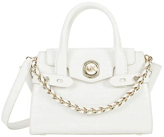 MICHAEL Michael Kors Carmen Extra Small Flap Messenger (Optic White) Handbags