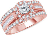 Zales 1-1/2 CT. T.W. Baguette and Round Diamond Frame Multi-Row Engagement Ring in 14K Rose Gold