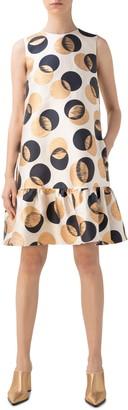 Akris Punto Gold Leaf Dot Ruffle Hem Sheath Dress