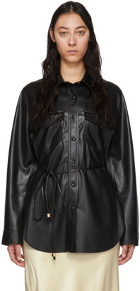 Nanushka Black Vegan Leather Eddy Shirt