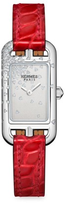 Hermes Nantucket Diamond, Stainless Steel & Alligator Strap Watch