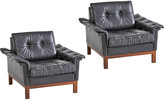 Rejuvenation Pair of Rare Ikea Modern Lounge Chairs in Black Leather