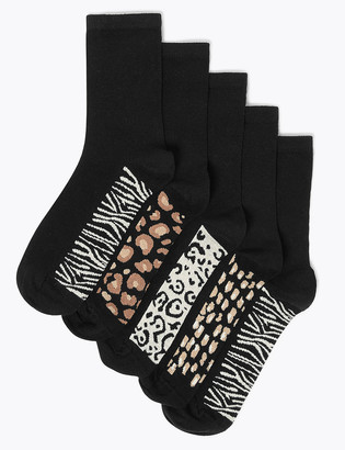 Marks and Spencer 5 Pack Cotton Rich Animal Print Ankle Highs