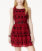 Trixxi Two Tone Lace Belted Skater Dress