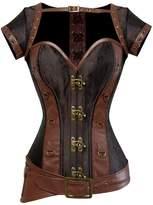 Kranchungel Women's Spiral Steel Boned Goth Retro Overbust Steampunk Bustier Corset Medium