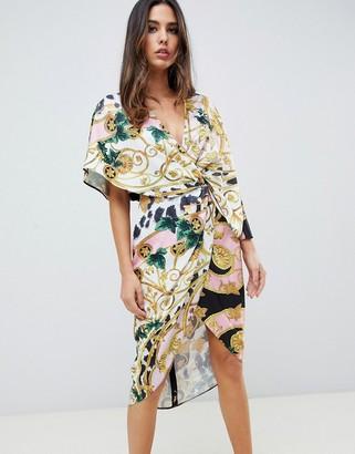 Asos DESIGN satin kimono midi dress with knot front and asymmetric sleeve in chain print