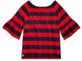 Ralph Lauren Ruffled Cotton Jersey Top