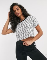 adidas monogram trefoil cropped t-shirt in white