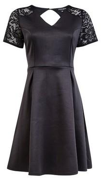 Dorothy Perkins Womens **Black Lace Top Skater Dress, Black