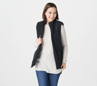 Denim & Co. Reversible Quilted to Sherpa Zip-Front Vest