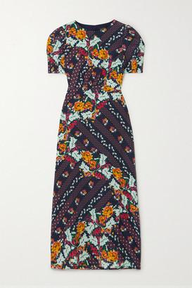 Saloni Bianca Printed Silk Crepe De Chine Midi Dress - Navy