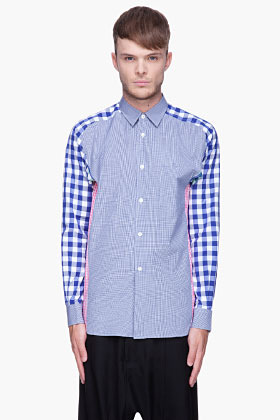 Comme des Garcons Blue and pink Yarn Dyed Cotton Checks Mix shirt