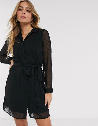 Pimkie dobby mini shirt dress in black