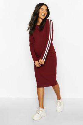 boohoo Maternity Long Sleeve Stripe Rib Bodycon Dress