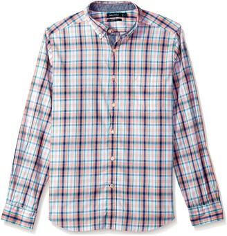 Nautica Men's Long Sleeve Large Plaid Button Down Shirt