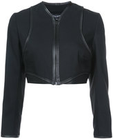 Narciso Rodriguez zipped cropped jacket - women - Silk/Lamb Skin/Spandex/Elastane/Virgin Wool - 42