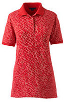 Lands' End Women's Petite Pique Polo Shirt-Light Meadow Mist Dots