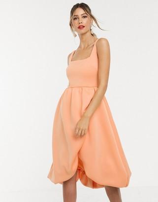 Asos Design DESIGN square neck bubble hem wrap prom midi dress-Orange