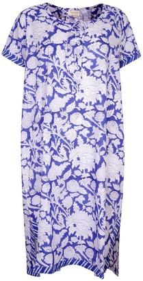 Nologo Chic Hand Printed Night Dress - Cotton - China Blue