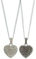 Judith Jack Sterling Silver and Crystal Reversible Heart Pendant Necklace
