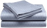 Fine Deluxe Hotel 300 Thread Count 100% Cotton Sateen Dobby Stripe Sheet Set- 4 Sizes- 9 Colors (Queen, Silver)