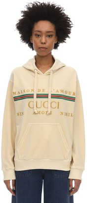 Gucci EMBROIDERED COTTON BLEND CHENILLE HOODIE