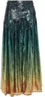 Mary Katrantzou Degrade Sequined Tulle Maxi Skirt