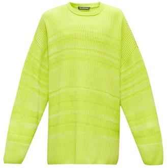 Balenciaga Dropped-sleeve Striped Sweater - Mens - Yellow
