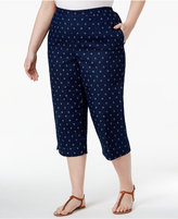 Alfred Dunner Plus Size Lady Liberty Collection Printed Denim Capri Pants