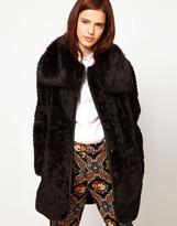 Asos Fur Coat With PU Belt