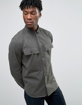 Asos Military Shirt In Khaki With Pockets And Raw Hem Long Sleeve