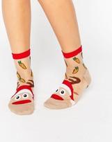 Asos Holidays Sheer Reindeer On Toe Socks