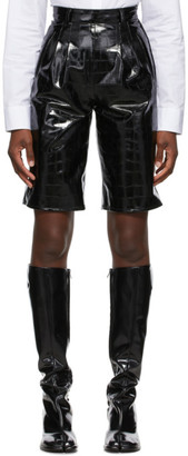 Maison Margiela Black Faux Croco Shorts