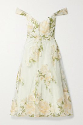 Marchesa Notte Off-the-shoulder Embroidered Tulle Midi Dress - Yellow