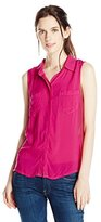 Splendid Women's Sleeveless Button Front Blouse Shirt