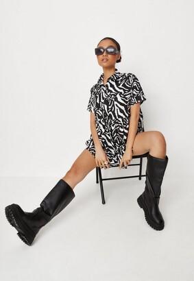 Missguided Petite Black Zebra Print Shirt Smock Dress